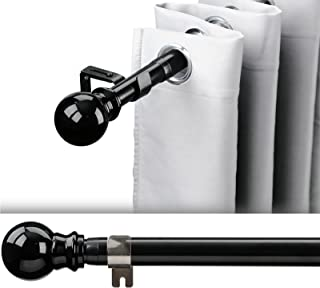 """1 Inch Adjustable Curtain Rod Set-Black Curtain Rods for Windows 34 to 52""""- Sturdy Single Drapery Rod for Black Out Gromme..."""