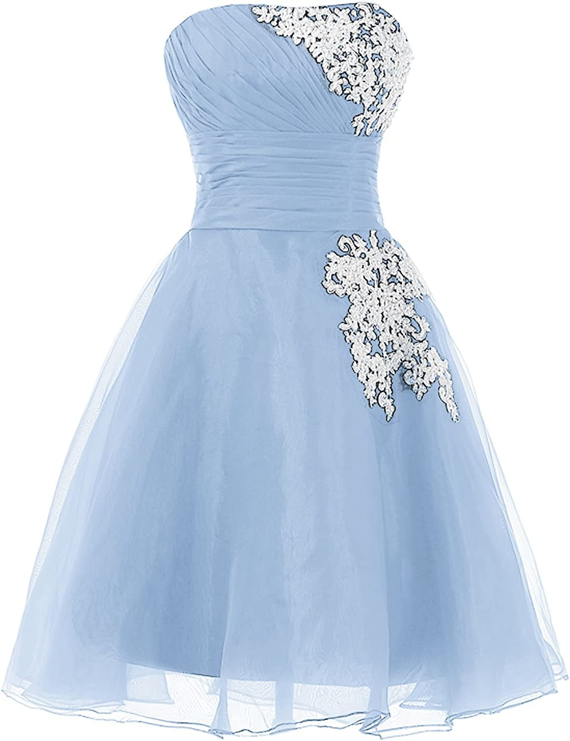 QY Bride Short Pageant Prom Dresses Organza Lace Homecoming Gowns