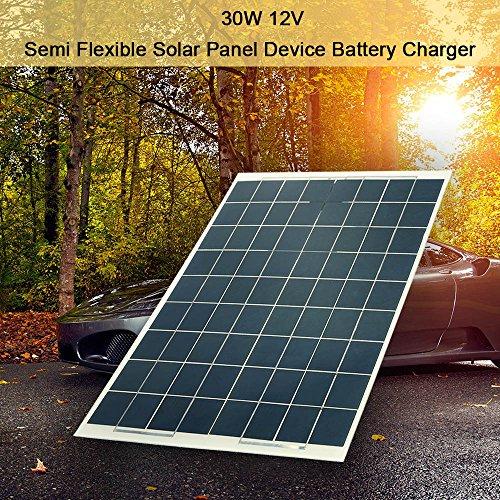 Hylotele DIY Solarplatten 30W 12V Halb Flexibel Solarmodule Hohe Umwandlungsrate Akkuladegerät für Auto RV Heimgebrauch