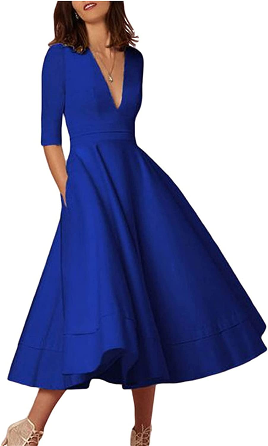 YMING Women Vintage Deep V Neck Cocktail Maxi Dress 3/4 Sleeve Pleated Swing Long Dress with Pockets