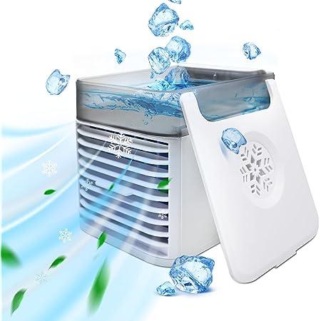 Mini Condizionatore Portatile, 4 in 1 Condizionatore per Casa raffrescatore evaporativo con 3 velocità e 7 Colori, USB Adatto per l'Home Office