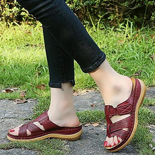 ypyrhh Planas Caminar Ortopedicas Zapatos,Zapatillas de Sandalia de Gran tamaño,Pendiente de Fondo Grueso con Sandalias de Playa-Vino Tinto_36,Baño Sandalia Suela De Suave