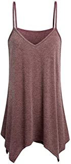 Lulupi Damen Longtop V-Ausschnitt Oversize Bluse Oberteil Basic Camisole Spaghetti Tank Tops Shirt Locker Luftig Casual Ärmellos Tunika Unterhemd