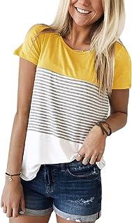 1ba5adc483 Tee Shirt Femme Casual T-Shirt Femme Rayé Correspondance des Couleurs Tops  Ete en Haut