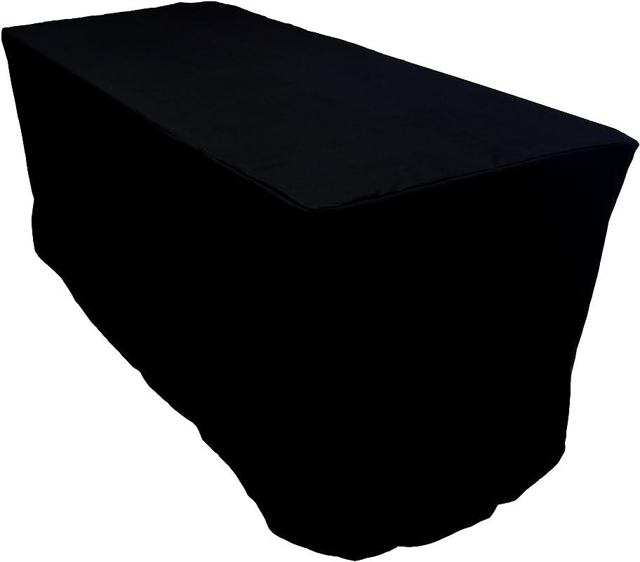 KAITATSU SEN 6 Ft Fitted Rectangular Polyester Tablecloth Black 30x72 Inch