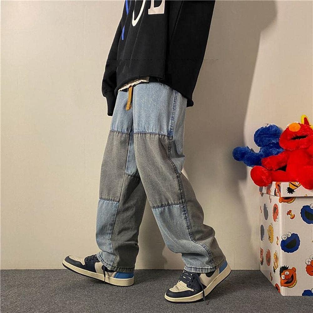 KAL'ANWEI Pantalones Vaqueros para Hombre Pantalones De Mezclilla Azul Negro Azul Relajado Fit Jeans Men Hip Hop Baggy Sollo Flow Masculina Pantalones