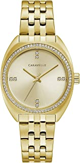 Caravelle Women's Gold-Tone Crystal Watch with Champagne Dial - 44L250