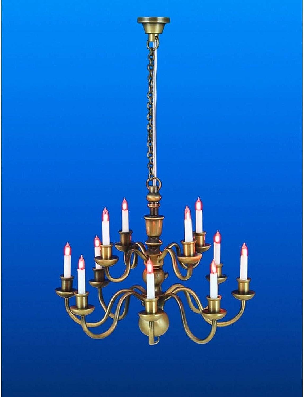 Melody Jane Dollhouse Nostalgic 12 Arm Candle Chandelier Miniature Electric