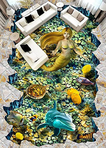 Suelo De Pvc 3D Impermeable Mural De Pared Personalizado Pintura De Suelo Papel Fotográfico De Murales De Pared 3D Delfín Sirena-250Cmx175Cm