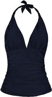 Hilor Women's Plunging V Neck Halter Swim Tops Shirred Tankini Top