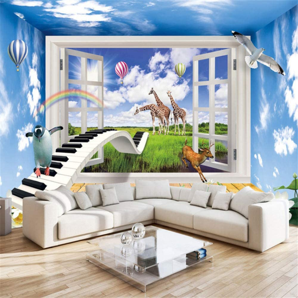 Pbldb National products 3D Effect Window Scenery Room Special price for a limited time Mural Children Wallpap Decor