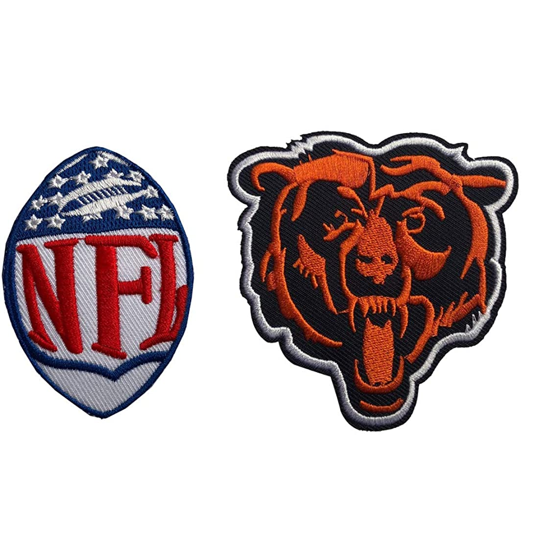 Hipatch Chicago Bears Embroidered Patch Iron on Logo Vest Jacket Cap Hoodie Backpack Patch Iron On/sew on Patch Set of 2Pcs