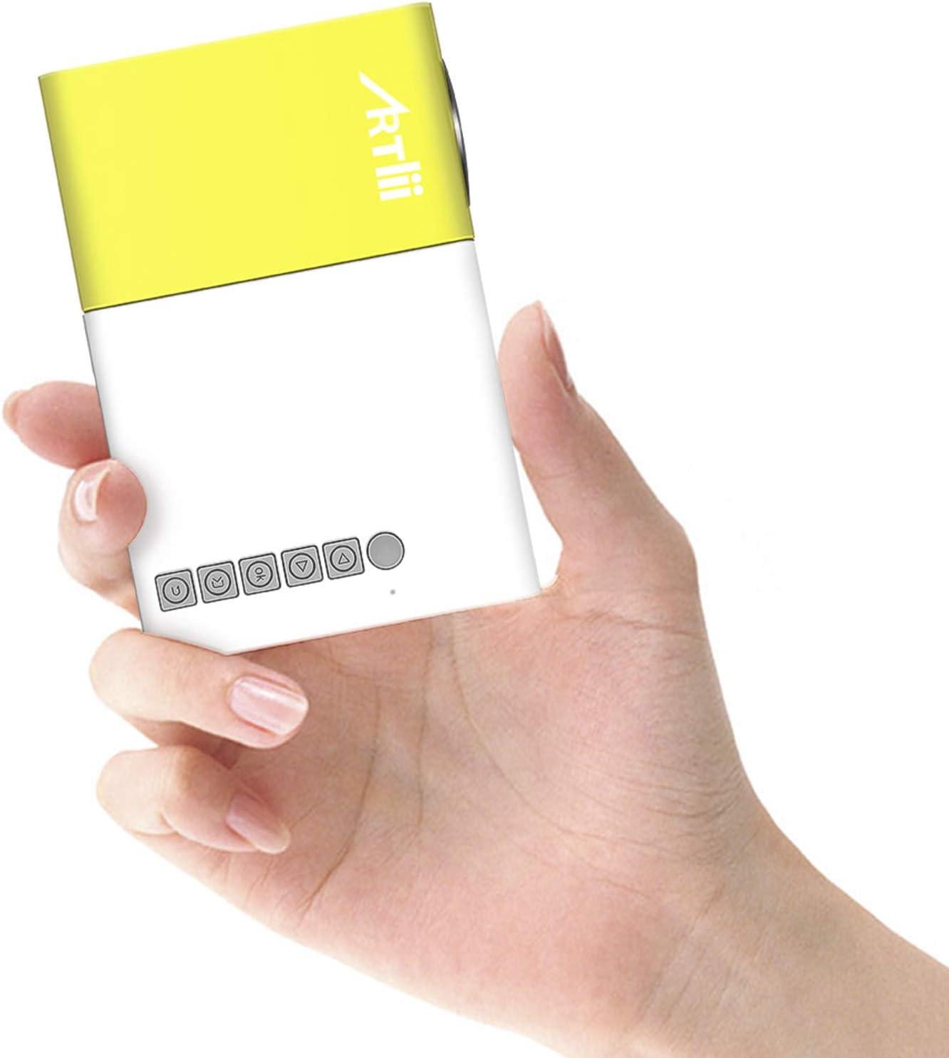Mini Proyector Portátil - Artlii Proyector para Movil, Recargable, Compatible con USB/HDMI/SD/AV, Regalo Infantil