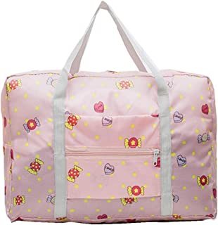 PAXLamb Carry-Ons Folding Flight Bag Travel Duffel Bag Foldable Travel Luggage Bag Lightweight Travel Luggage Duffle Tote Bag Waterproof Luggage Organizer Storage Carry-on Bag (Pink Candy)