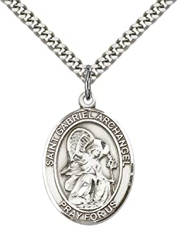 F A Dumont Sterling Silver St. Gabriel the Archangel Pendant with 24