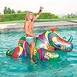 WZXHN Paseo Inflable Gigante para Adultos en flotadores de Piscina de Rinoceronte Impresión Completa Flotadores de Piscina Animales Juguetes de Agua de Verano Cama de balsa de Aire 200 cm x 102 cm