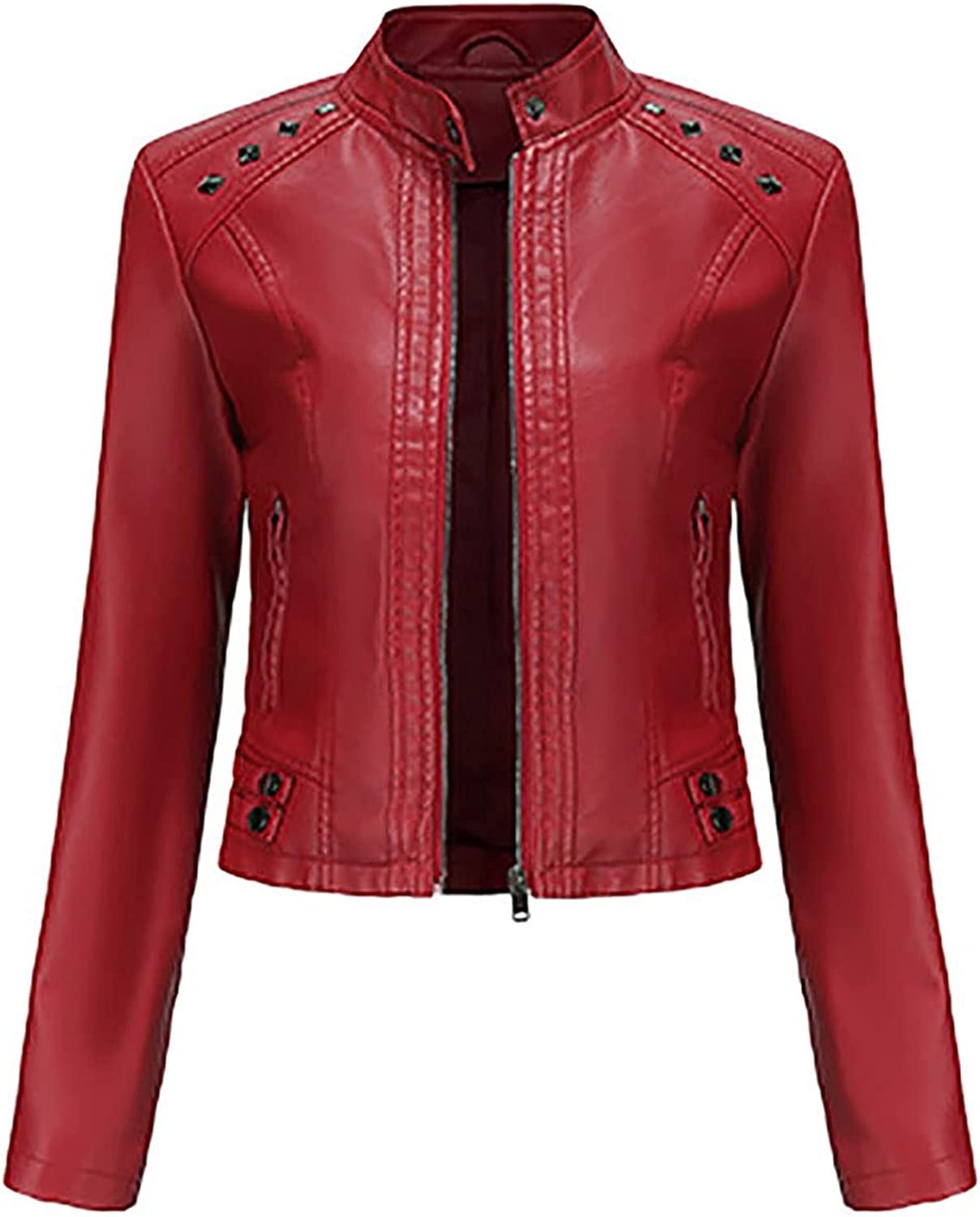 Women's Zip Up Stand Collar Solid Faux Leather Jacket,Fashion Fall Winter Slim Short Lightweight Motorcycle Coat Tops