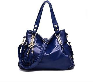 Pu handbag, soft leather shoulder bag, simple crossbody bag, travel bag, multi-layer structure design, can accommodate mobile phones, umbrellas, etc. (Color : Blue, Size : One size)
