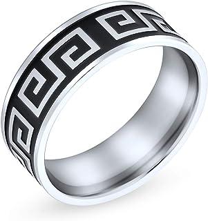 Bling Jewelry Uomini Greca Geometrica Chiave Piatta Nera Fede Nuziale Anello per Uomini Donne Nero Argento Tone in Acciaio...