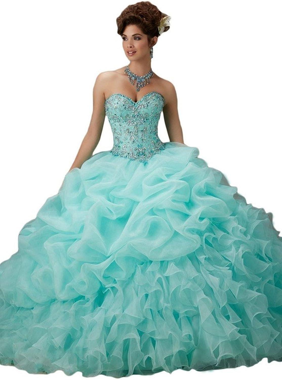 Zhu Li Ya Women's Sweetheart Ball Gown Beading Crystal Prom Quiceanera Dresses