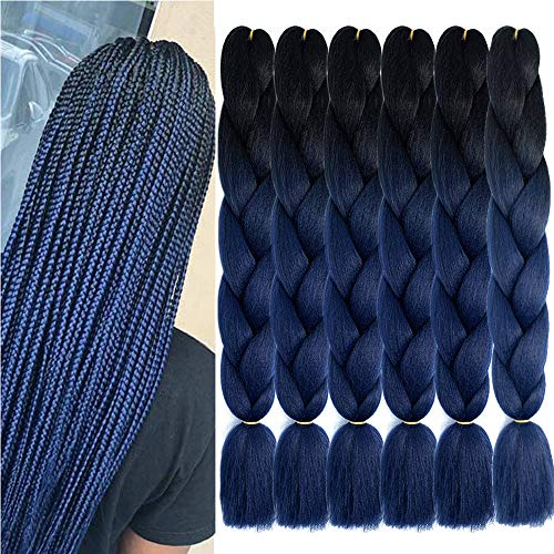 SHUOHAN 6 Packs Ombre Jumbo Braiding Hair Extensions 24 Inch High Temperature Synthetic Fiber Hair Extensions for Braiding Box Braids Hair (Black to Dark Blue)