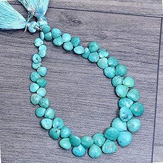 Perlas facetadas de piedras preciosas turquesas naturales de 5 mm a 8 mm, briolette de corazón turquesa | Cuentas de piedr...
