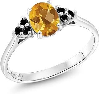 0.88 Ct Oval Checkerboard Yellow Citrine Black Diamond 10K White Gold Ring