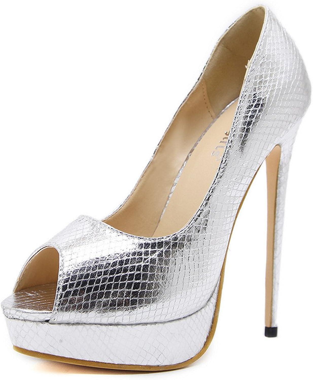 FORTUN Drift Toe Pattern Women's Heels Sexy Platform Stiletto Party Dress shoes
