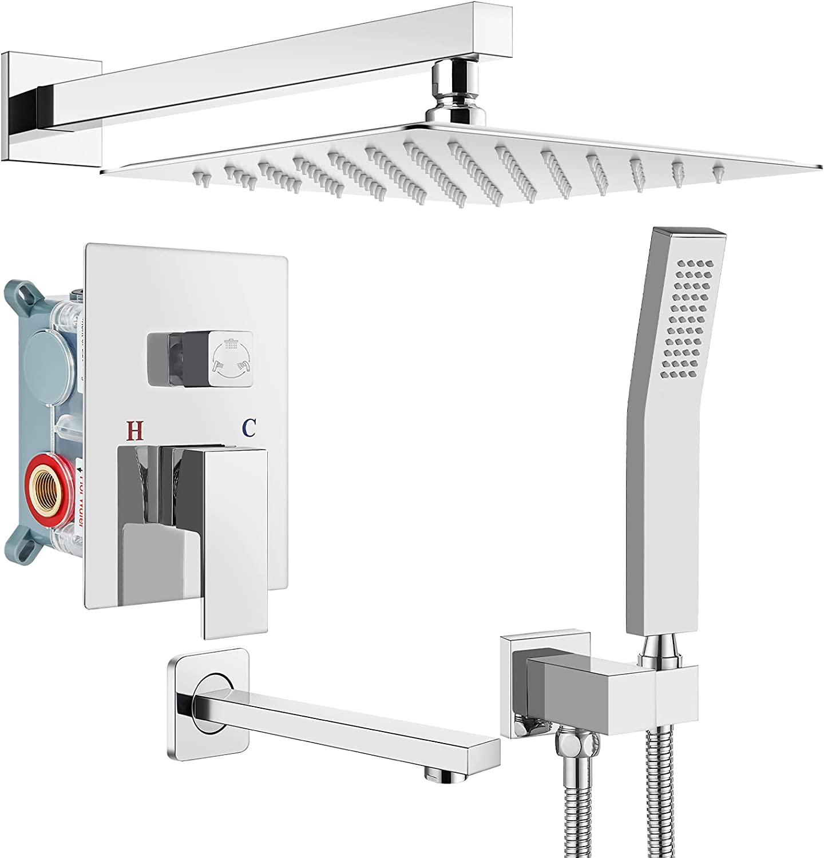 Polish Chrome Rain Shower 激安セール 訳あり System Set 12 3 Function Inches Mixer