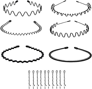 Landove 6Pcs Unisex Wavy Metal Hair Hoop Band Black Hair Bundle Accessories Multi-style, with 10 Pieces Metal Bobby Pin No...