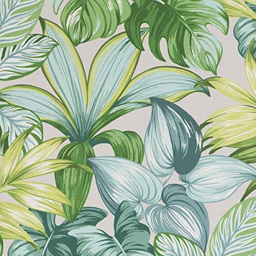 SCHÖNER LEBEN. Tela para exterior MAJORQUE hojas de palmera, color blanco y verde, 1,50 m de ancho