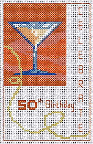 Cross Stitch 50th Birthday Card Kit with fabric and instructions. Make your own card!