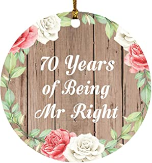 70th Anniversary 70 Years of Being Mr Right - Circle Wood Ornament B Christmas Tree Hanging Decor - for Wife Husband Wo-Me...