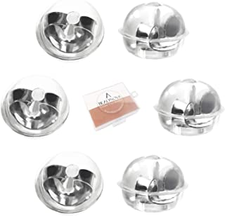 BEADNOVA 925 Sterling Silver Earring Backs Soft Clear Silicone Padded Mushroom Earing Backings Pierced Earring Back for Posts Locking Ear Ring Backs Replacements for Studs Stopper Hypoallergenic 6pcs