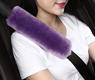 2pcs Auto Genuine Sheepskin Seat Belt Covers Pads,Safety Fuzzy Car Seat Belt Strap Cover Neck Cushion Protector Seatbelt Shoulder Pad for Kids Adults in Soft Natural Australia Pure Wool,Purple