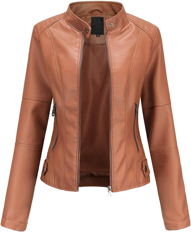 ZSBAYU Faux Leather Jacket Women Motorcycle Fall Trendy Zipper Jackets Slim-Fit Cropped Tops Thin Punk Coats Blazer