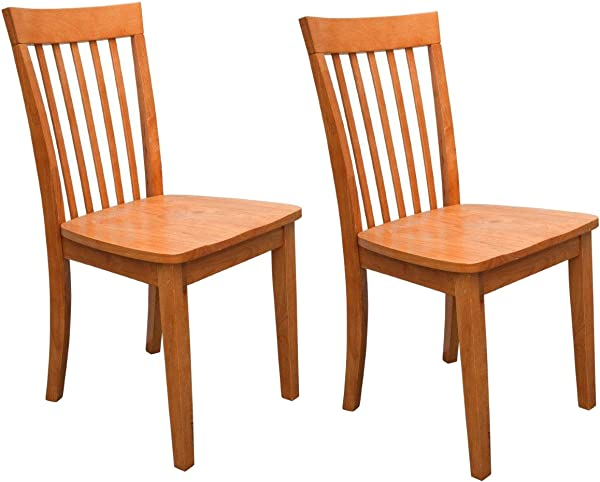 Kings Brand Furniture Set Of 2 Heavy Duty Solid Wood Dining Room Kitchen Side Chairs Maple