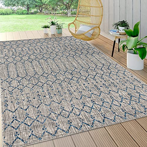 JONATHAN Y Ourika Moroccan Geometric Textured Weave Indoor/Outdoor Gray/Navy 5 ft. x 8 ft. Area Rug, Bohemian,EasyCleaning,HighTraffic,LivingRoom,Backyard, Non Shedding