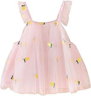 ガールズ ワンピース ふんわり かわいい お姫様 赤ちゃん 女の子 パイナップル 刺繍 王女 カジュアル ストラップ ドレス パーティー服 七五三 出産祝い 結婚式