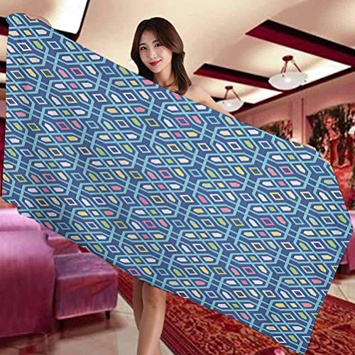 SUZM Abstract Hotel and Spa Comfortable Bath Towel Vibrant Mosaic Tiles Geometric Forms Maze Oriental Moroccan Turkish Tribal Suitable for Swimming Pool Gym and Bathroom W27 x L55 Inch Multicolor