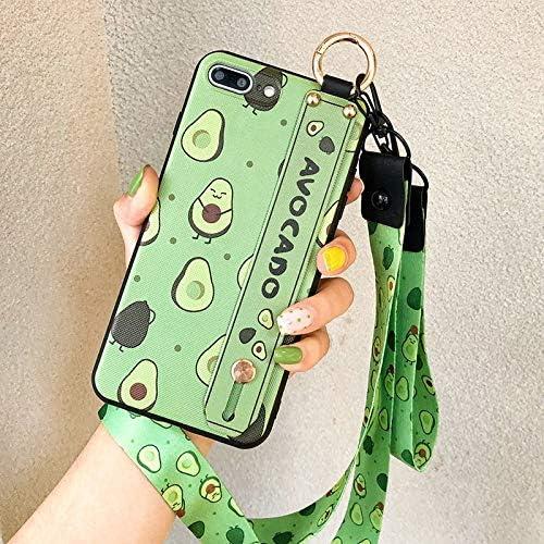 NiceGuu Phone Holder Case for iPhone XR X Xs max 11 Pro Max 7 8 7plus 8plus Fruit Avocado Soft TPU Neck Wrist Strap Lanyard Case (for iPhone 11 Pro Max)
