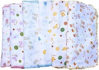 FTSUCQ Baby Cotton Six Layers Gauze Cartoon Print Bibs Handkerchief Hankies Set