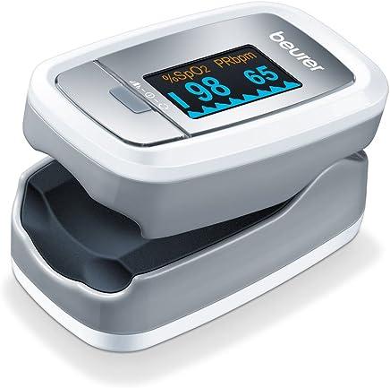 Beurer PO 30- Pulsioxímetro de dedo para la medición de la saturación de oxigeno en la sangre y el pulso, color blanco y plata, 61 x 36 x 32 mm, 57 g