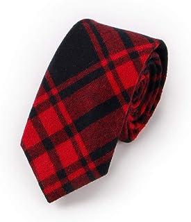 DIEBELLAU Cotton tie Fashion Casual Plaid Jacquard Narrow Version Men's Work tie (Color : Red)