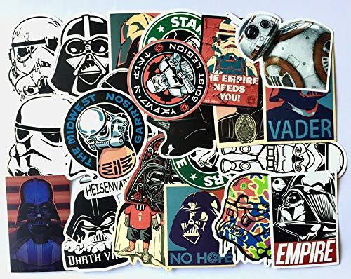BUCUO Star Wars Darth Vader Stormtrooper Refrigerador Car Trolley Maleta Dibujos Animados Graffiti Sticker 25 Uds