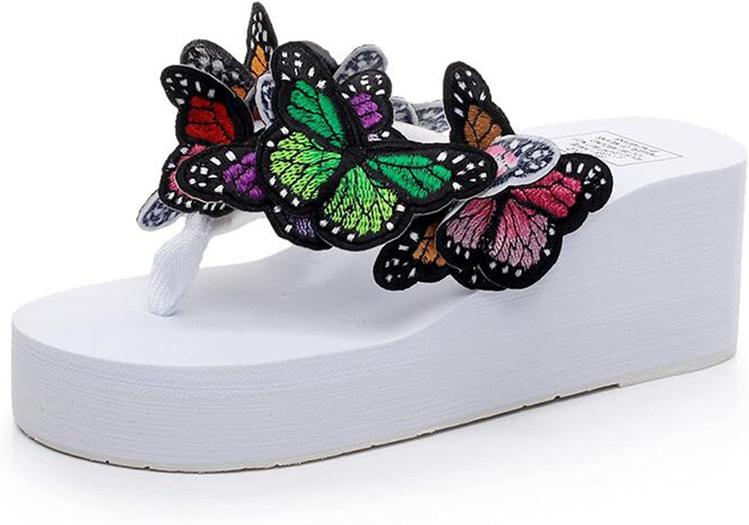 Women Flip Flops Beautiful Butterfly 6cm Heel Sandals Non-slip Cool Sandals Fashion Shopping Comfort Sandals (Black bluee White) ( color   White , Size   36 )