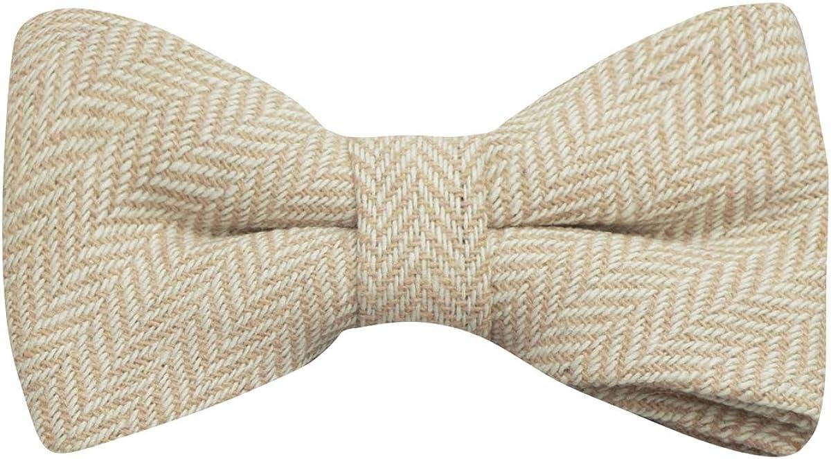 Gold & Cream Herringbone Bow Tie