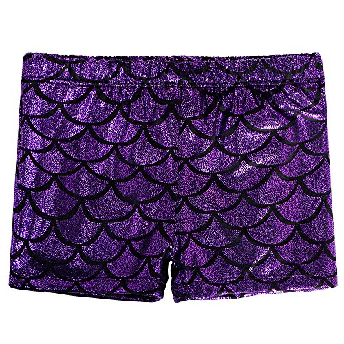 BAOHULU Girls Dance Shorts Sparkle Gymnastics Tumblewear B151_Purple_L