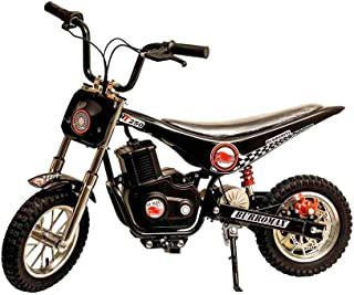 Burromax Black TT250 Electric Motorcycle Dirt Bike for Kids | Fast and Long Lasting 24V 250W Charge | Ride On Mini Pocket Bike Off Road 20001