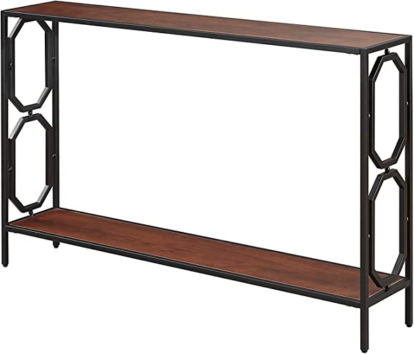 Convenience Concepts Omega Metal Console Table Cherry Black
